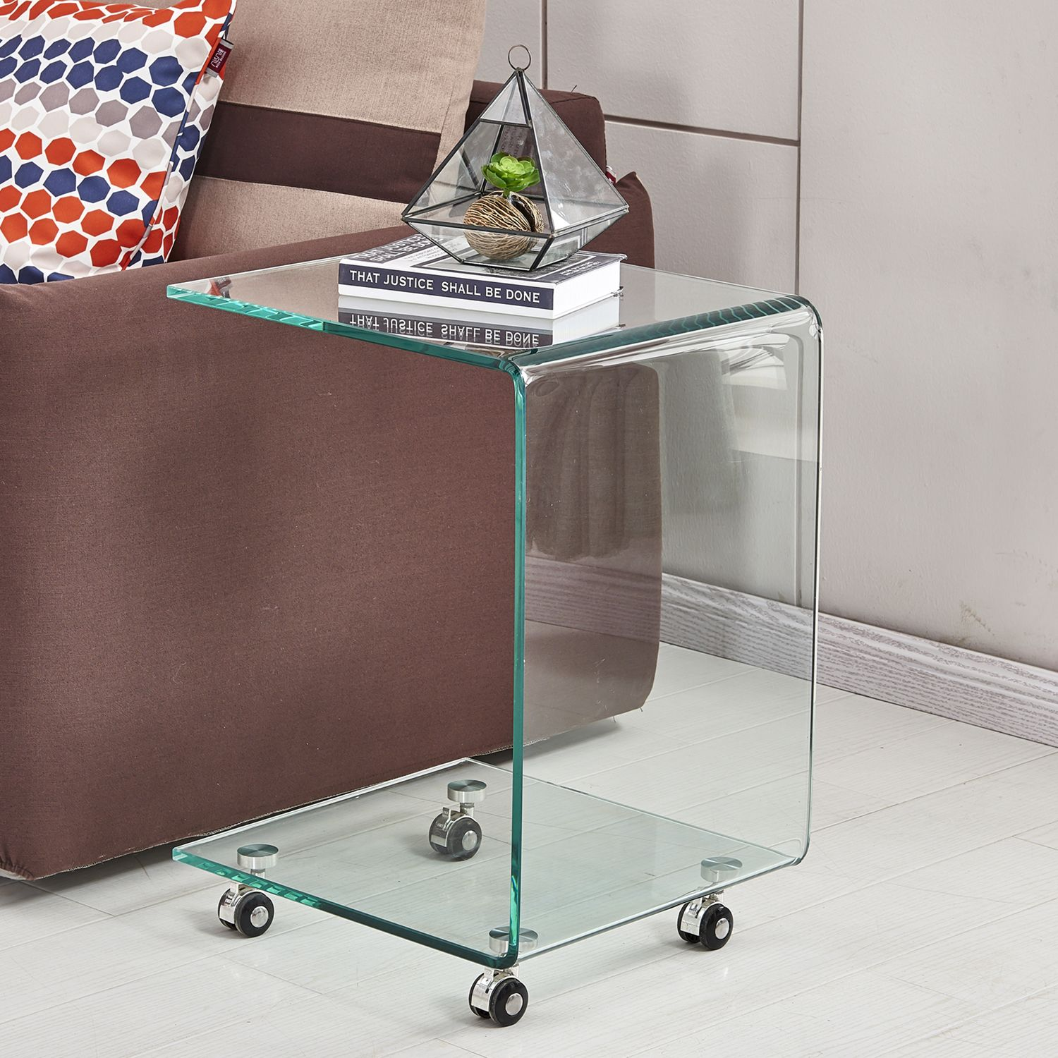 C Shape Tempered Glass Corner Movable Sofa Side Table With Wheels Glass Top Side Table Sofa End Tables Sofa Side Table