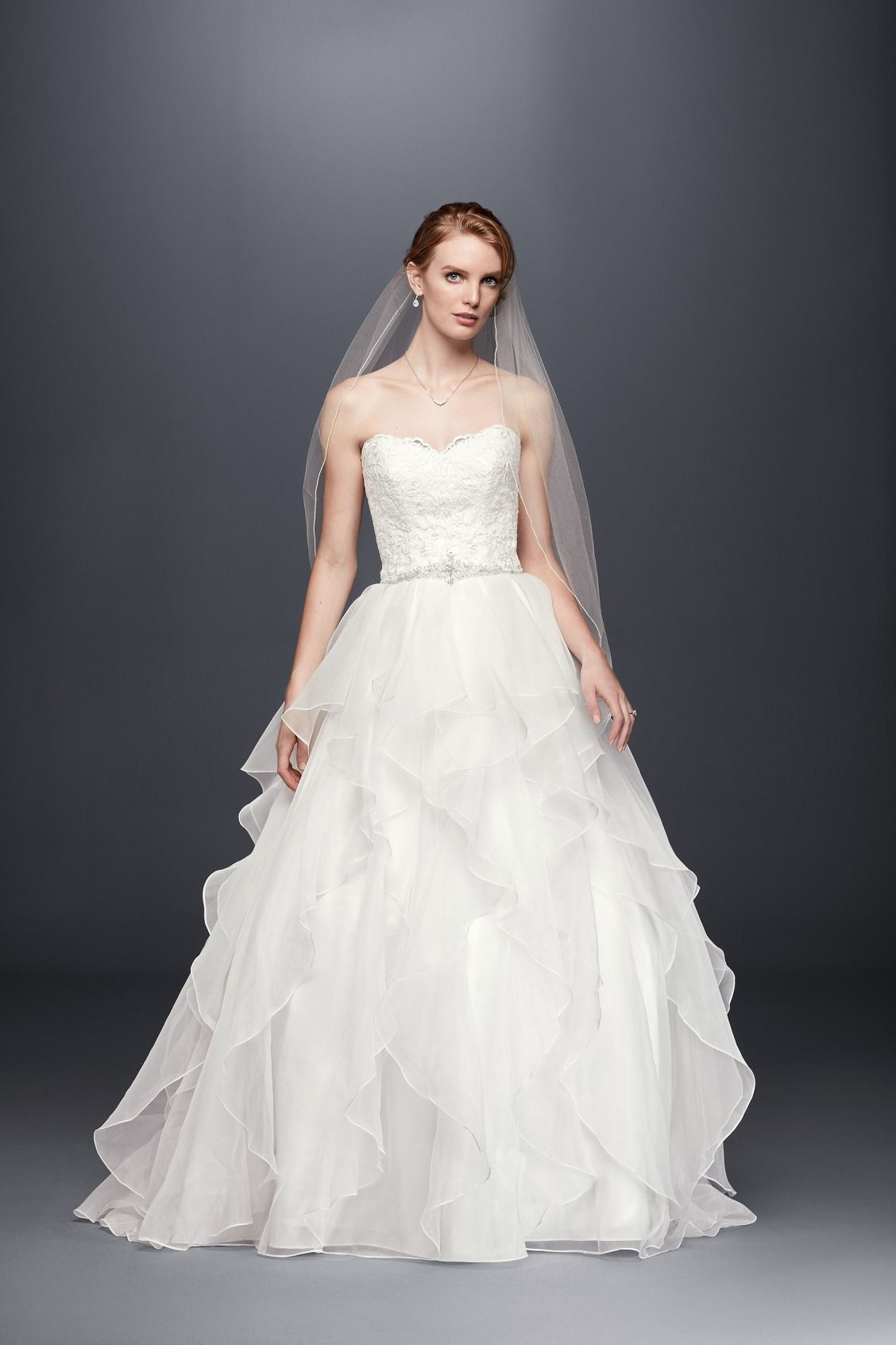 Lace and Organza Wedding Ball Gown with Beading by David\'s Bridal ...