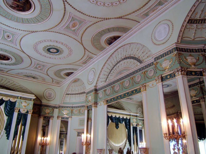 A neoclassical ceiling by Robert Adams (1728-1792) for the Music Room of