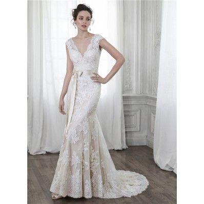 Mermaid V Neck Open Back Cap Sleeve Vintage Lace Wedding Dress Bow ...