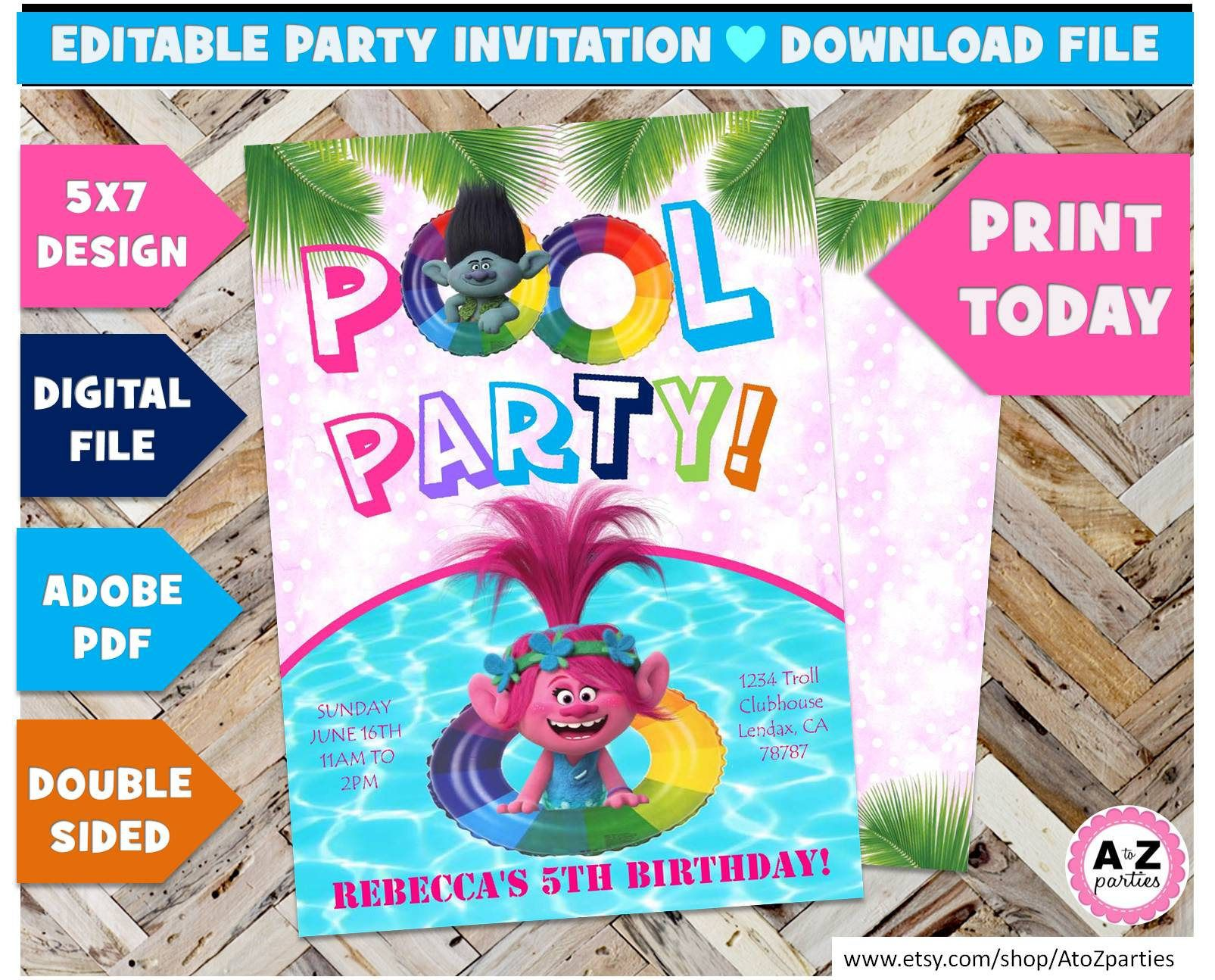 13 superb modern living room with pool ideas that will drop your trolls pool party birthday invitation editable trolls edit with adobe summer swim party trolls splash 5x7 invitation edit printabl by atozparties stopboris Choice Image