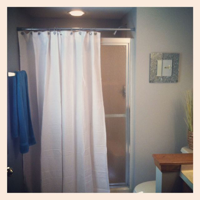 I Hung A Shower Curtain In Front Of My Glass Shower Doors To Give