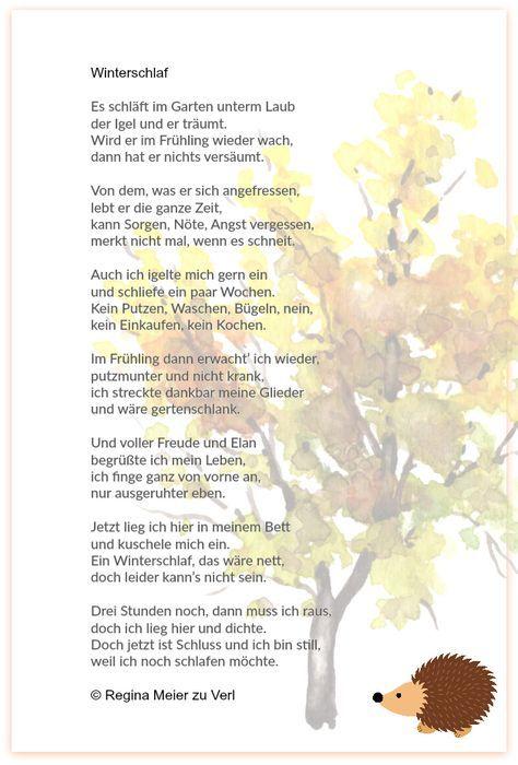 Winterschlaf Kindergedichte Gedichte Fur Kinder Gedichte