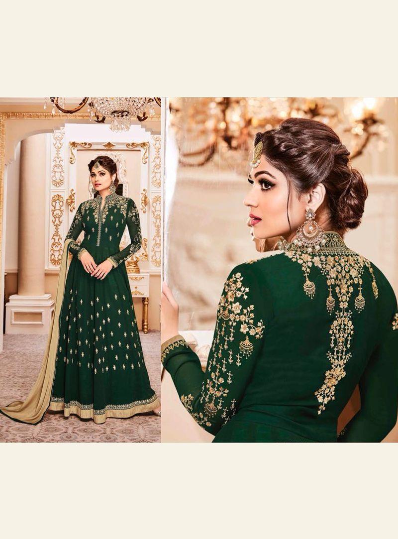 Shamita Shetty Green Georgette Anarkali Suit 120837 | Girl ...