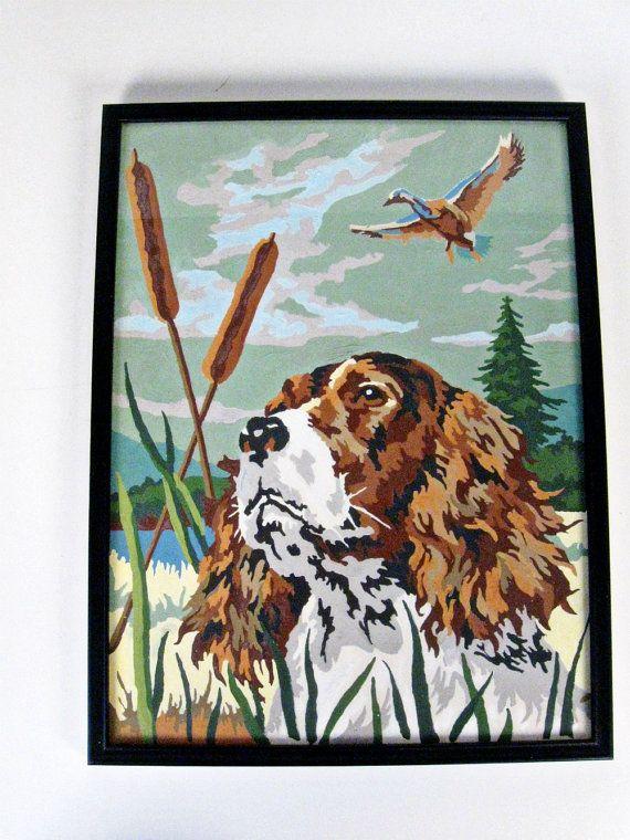 vintage Spaniel hunting dog framed paint by number - 1960s | Hunting ...