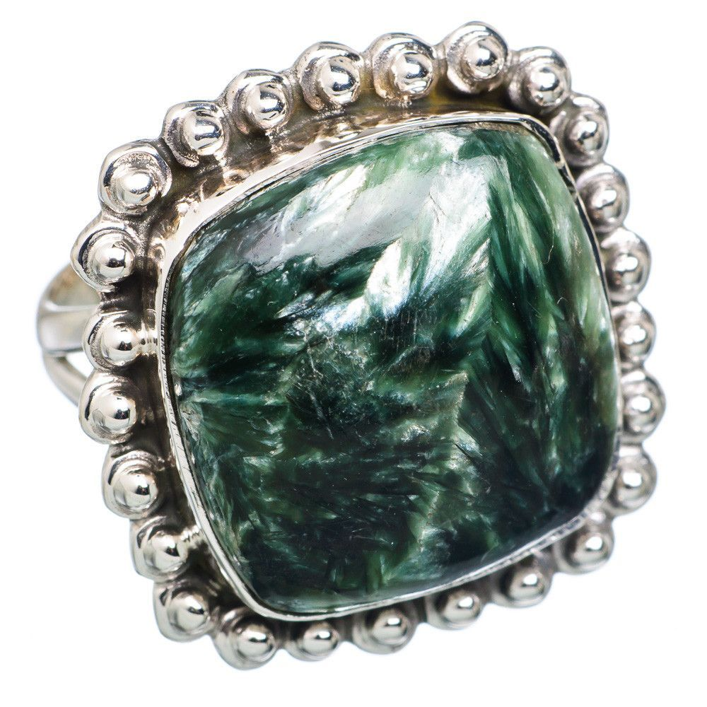Seraphinite 925 Sterling Silver Ring Size 7.25 RING700148