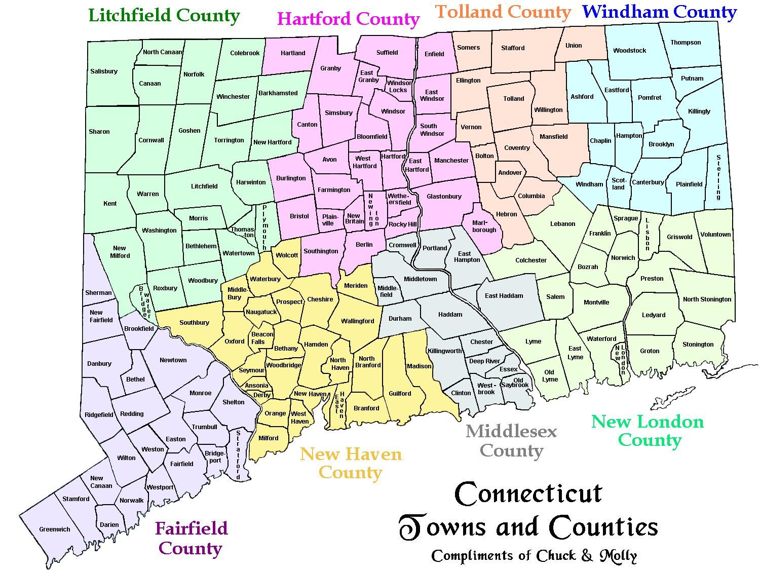 Map Of Ct Towns And Counties Sad That I Have Lived In Ct