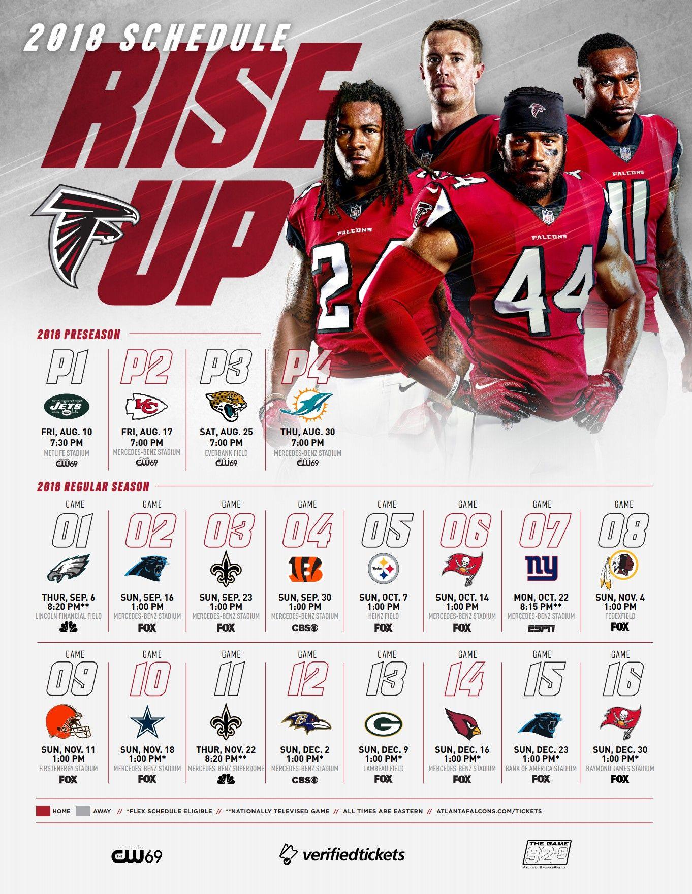 Atlanta Falcons 2018 Pre Regular Season Schedule Rise Up P1 L 0 17 P2 L 28 14 P3 L 6 17 Atlanta Falcons Atlanta Seasons