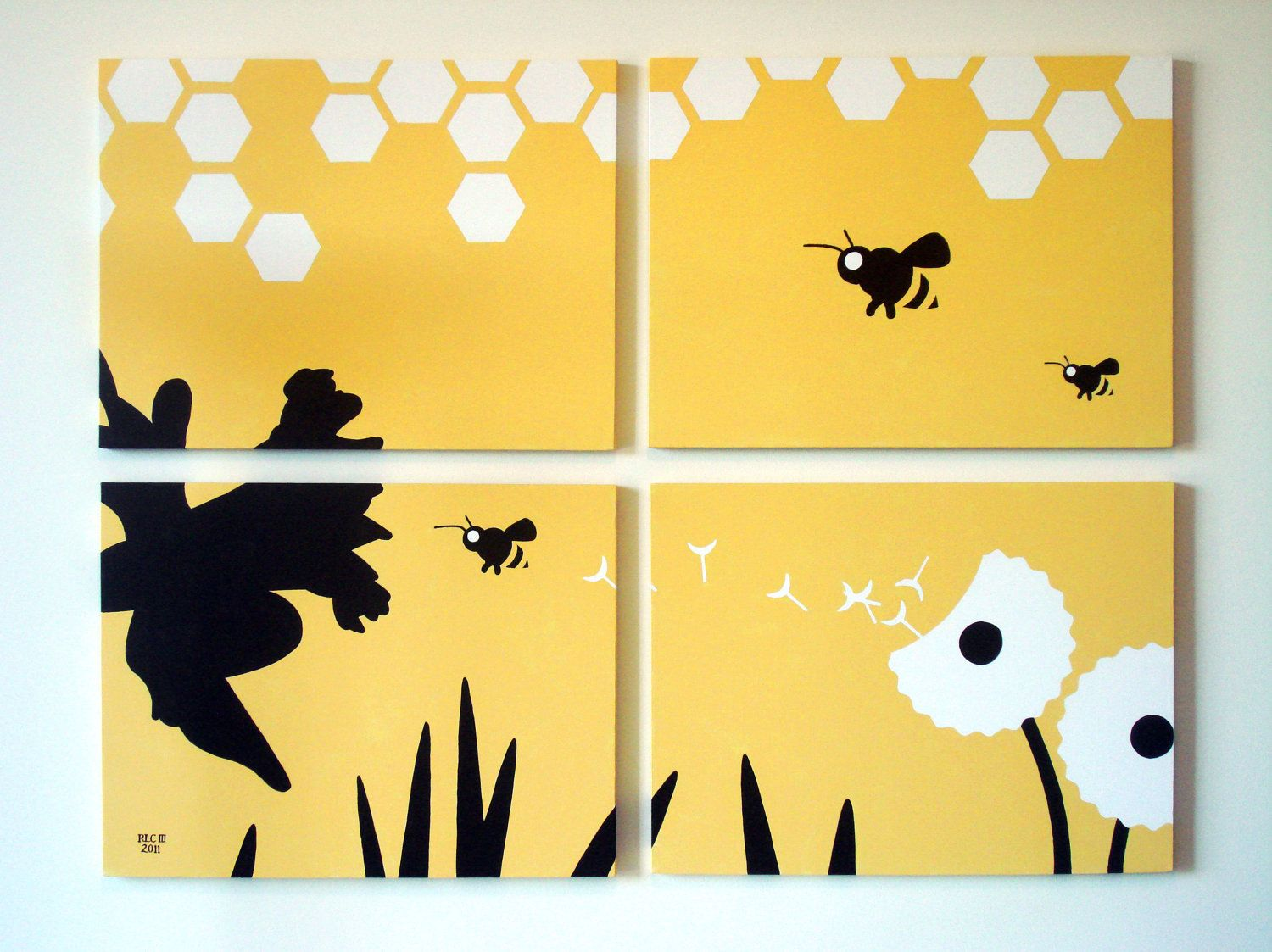 Bumble Bee Painting - Honey Bee Modern Wall Art - Handmade Acrylic ...