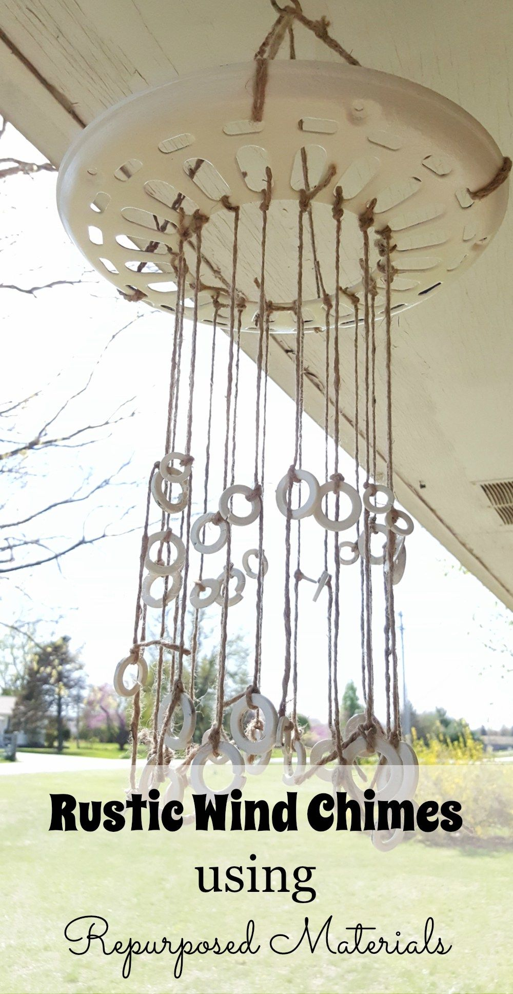 DIY Rustic Wind Chimes using Ceiling Fan Cover and Washers is part of Upcycled Crafts Reuse Wind Chimes - This DIY rustic wind chimes is so easy to make, using a ceiling fan cover, washers, jute twine, and paint, and gives off a sweet sound  How to Make a Wind Chime using Repurposed Materials