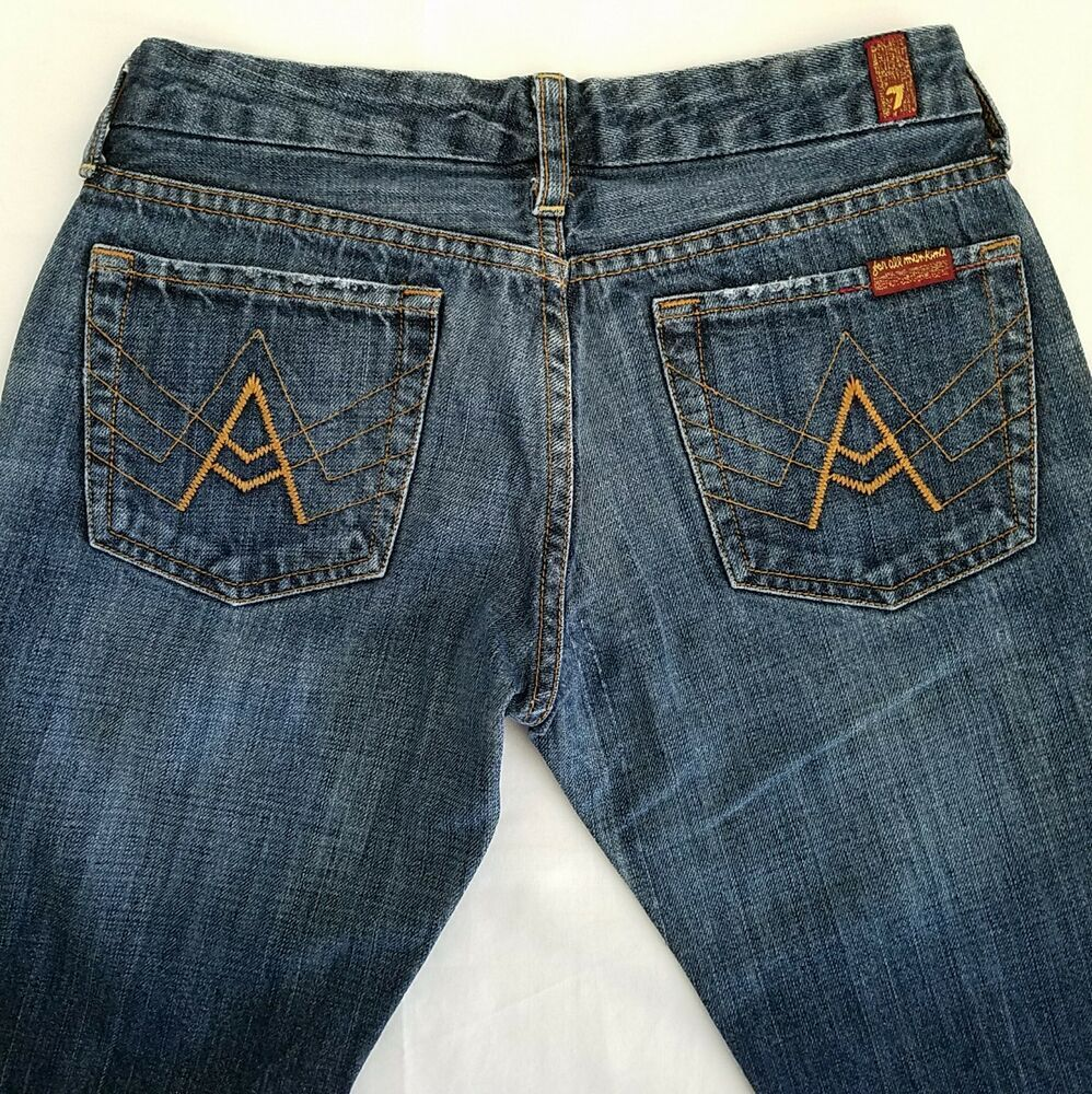 7 For All Mankind Denim Jeans Tag 27 Actual 28 Med Wash A Pocket