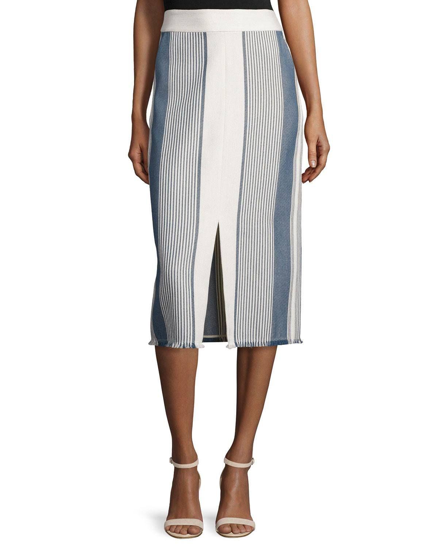 Adelina Striped Pencil Skirt W/ Fringe Hem