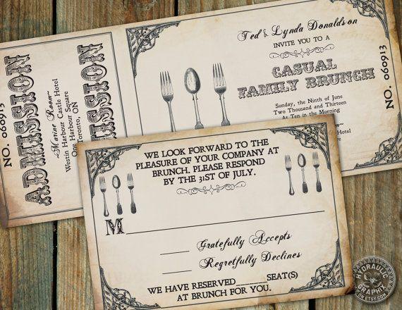 Day After Wedding Brunch Invitations: Vintage Brunch Invitation, Steampunk Ticket Invitation