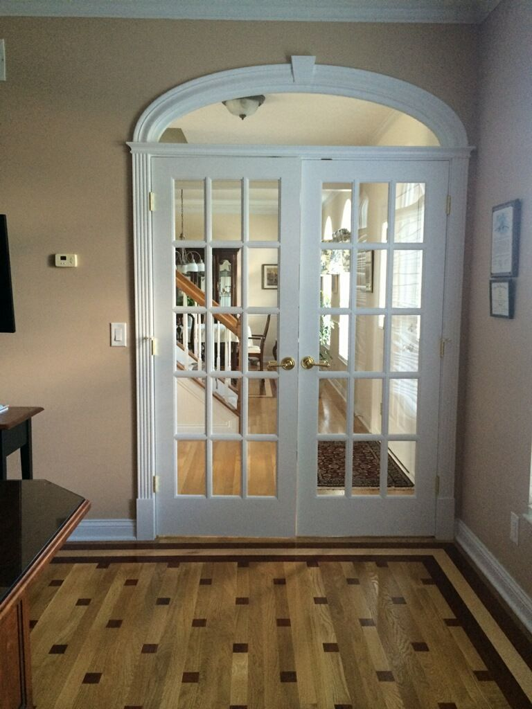 5/0 Solid Poplar French Door With An Arched Transom And White Oak, Walnut,  Brazilian Cherry And Maple Patterned Hardwood Floor.