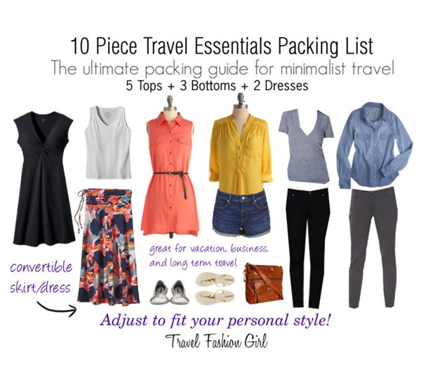 Mastering The 10 Piece Travel Wardrobe Step 2 Use One Color Story Travel Fashion Girl Packing Essentials List Packing List Spring