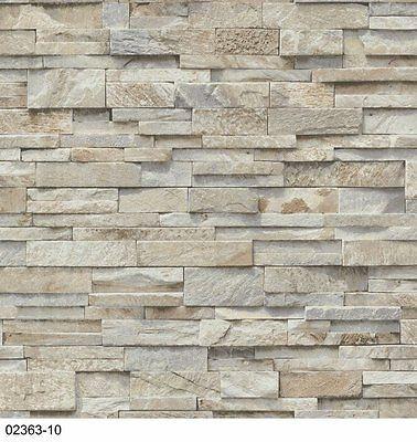 Vlies Tapete P+S EINFACH SCHÖNER 02363-10 Steine Mauer 3D Optik - tapete grau beige