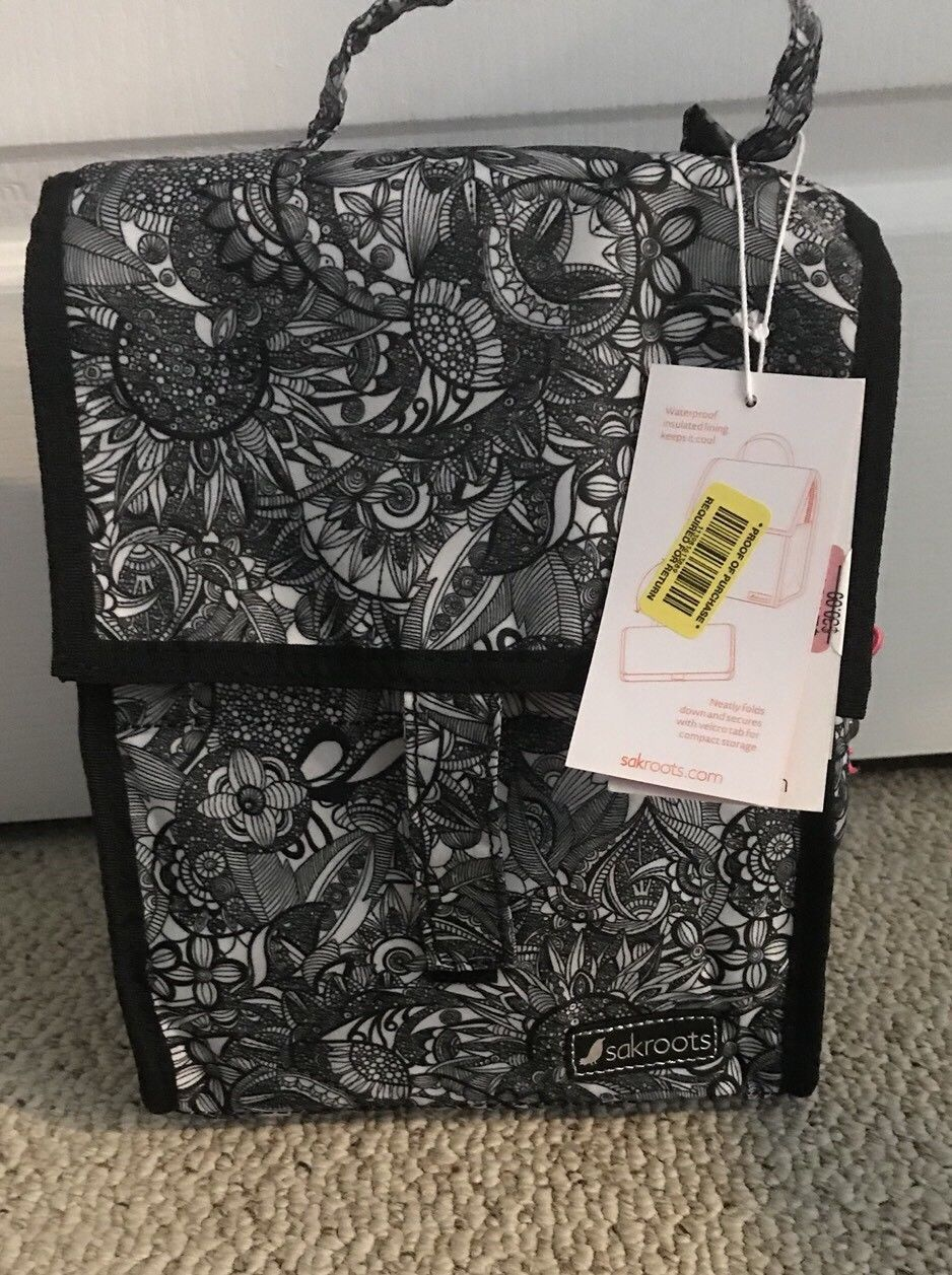 9 99 Sakroots Nwt Artist Circle Cooler Lunch Bag Black White