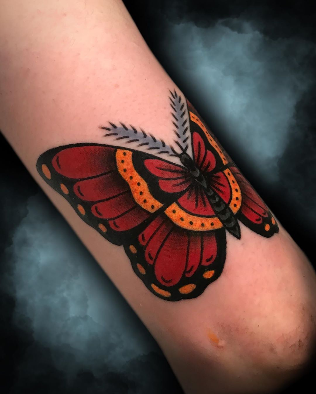 Red Black Butterfly Tattoo in 2020 Black butterfly