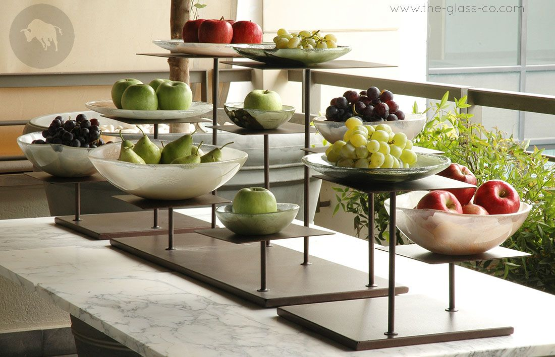 Wood Elevation For Buffet : Whole fruits buffet display with elevations and