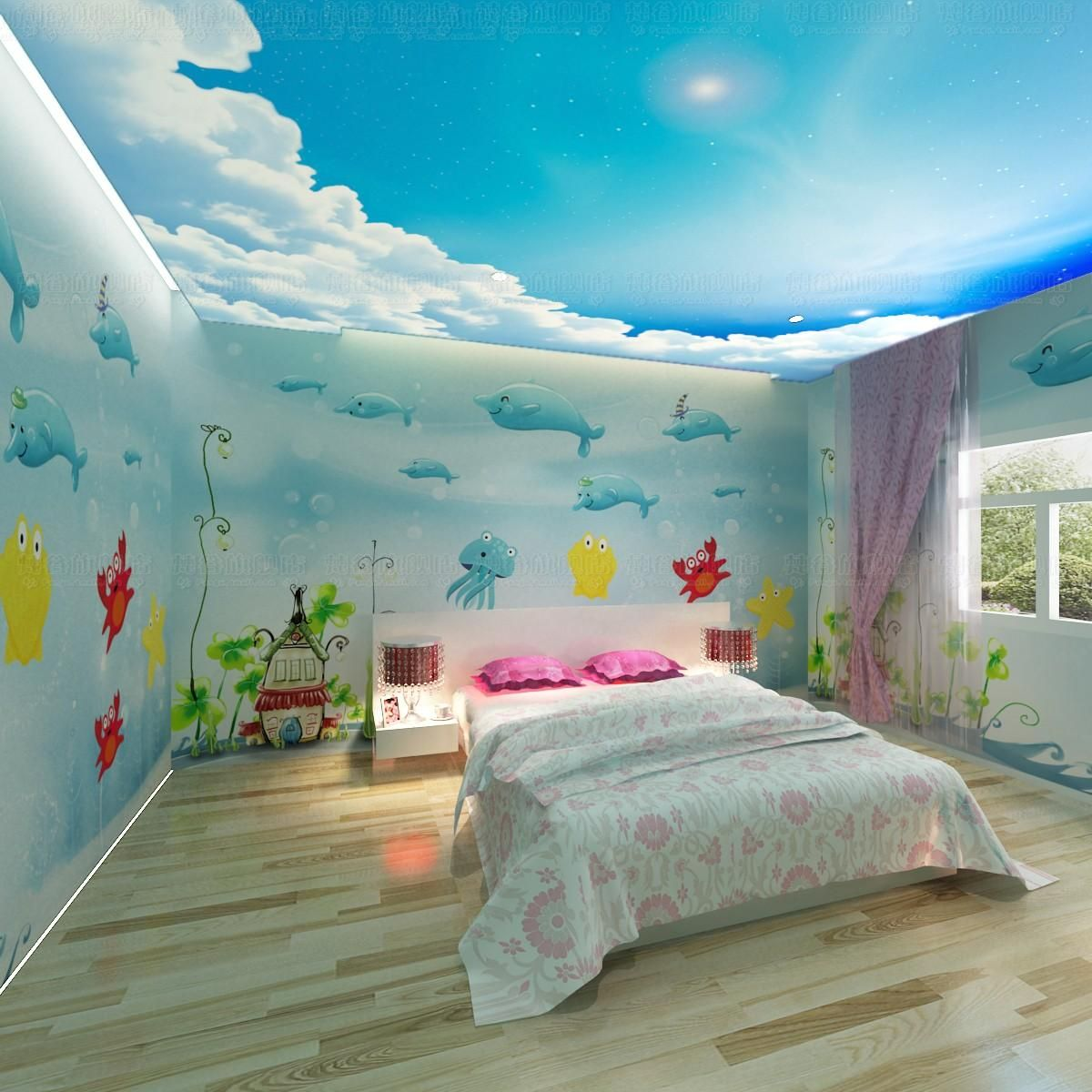 free shipping 3d wallpaper dolphin cartoon child real background room