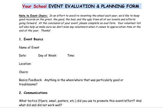 PostEvent Evaluation Form From The Pto Today File Exchange Good