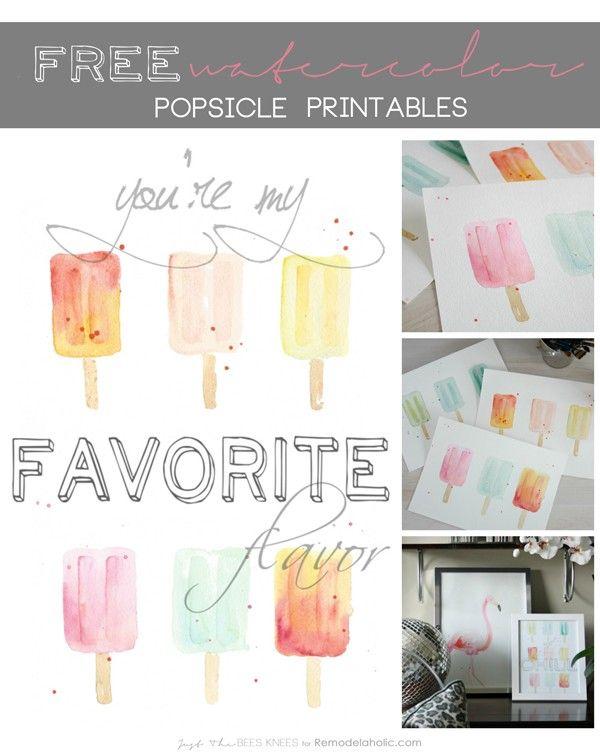 popsicle watercolor printable #impresiones #paletas #helados ...