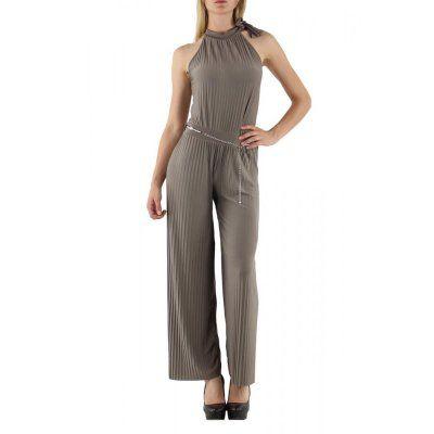jowiha® Eleganter Overall Hosenanzug Jumpsuit mit Gürtel