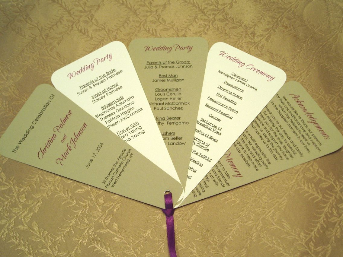 Make Your Own Wedding Program Fans If You Are Having An Outdoor Even