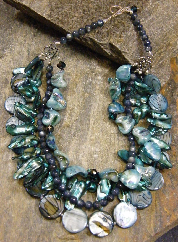Long Beautiful Blue Shell Necklace