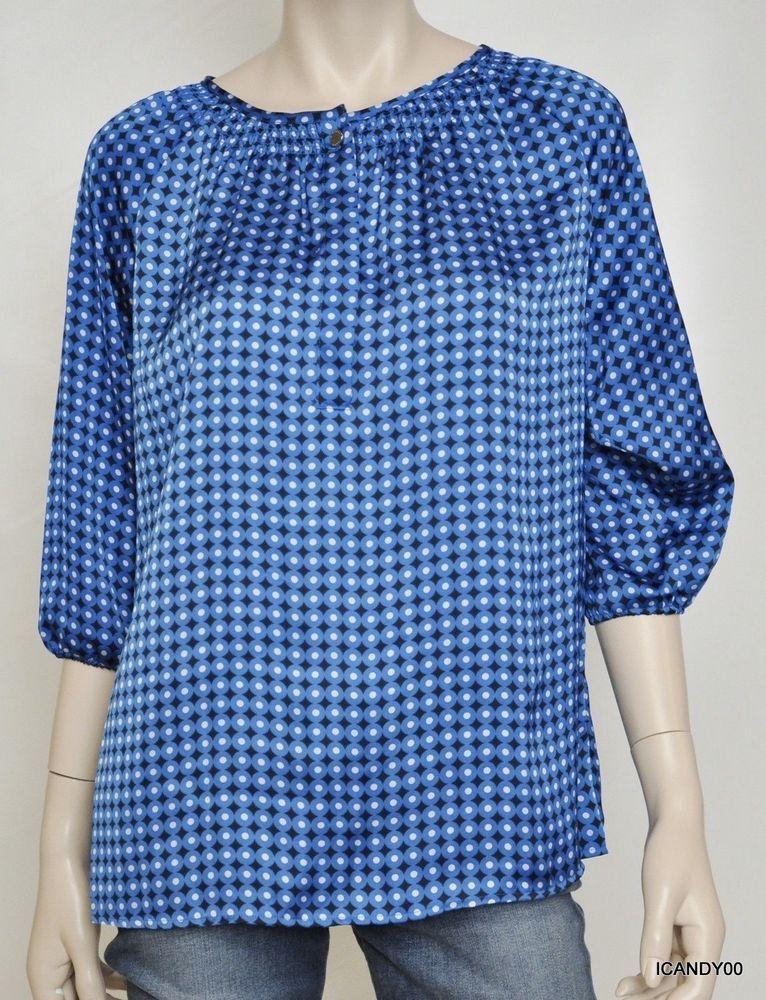MICHAEL KORS Polka Dot Print Blouse Tunic Top Shirt  SIZE 6 #MichaelKors #Blouse #Versatile