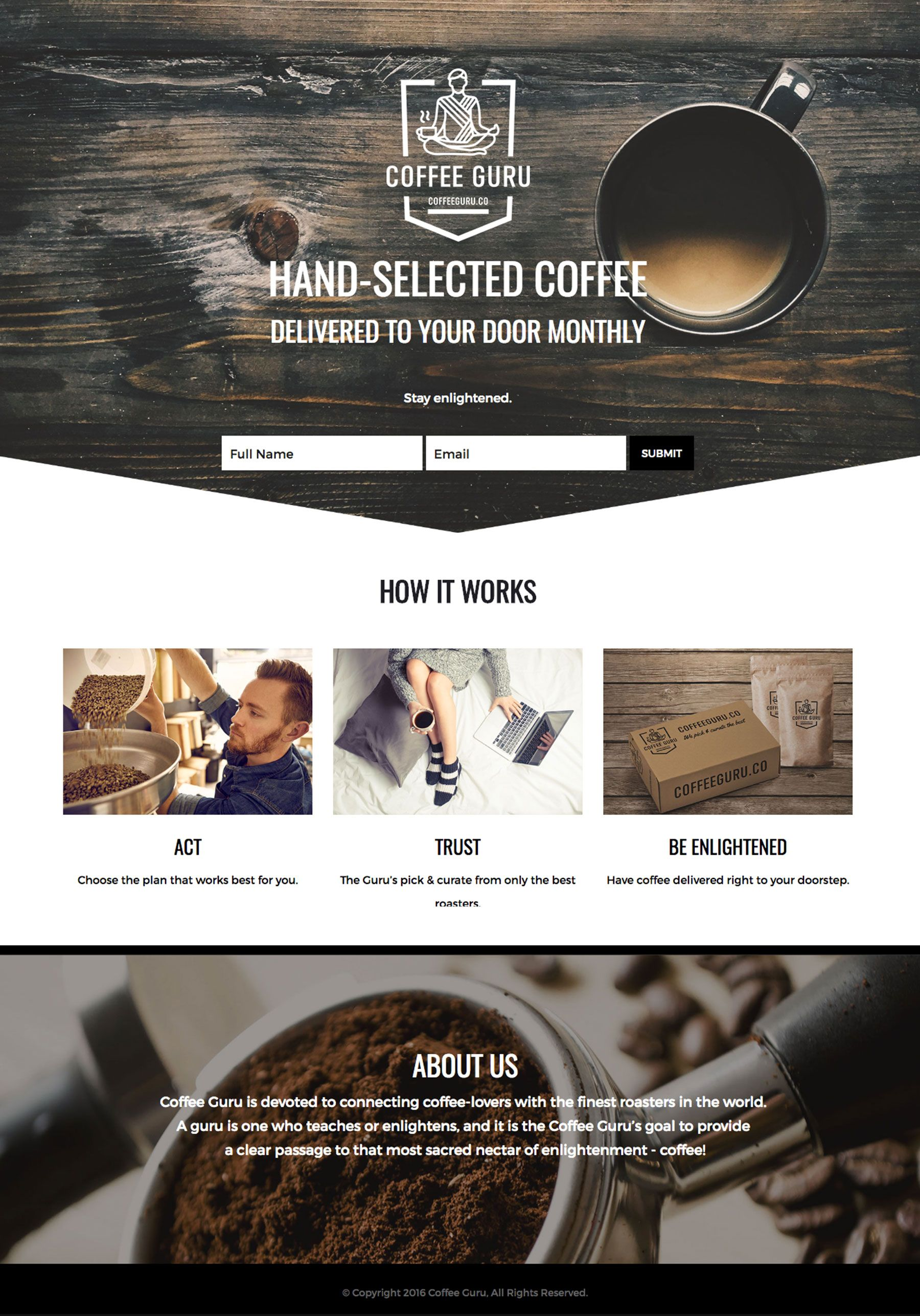 coffee website monthly subscription one page layout design