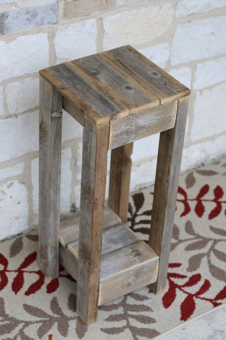 10x10 Accent Table White Or Natural In 2020 Rustic Side Table Rustic End Tables Wood Accent Table