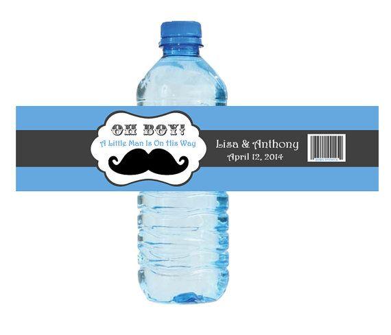 Little Man Baby Shower Water Bottle Labels by ADTRCustomDesigns