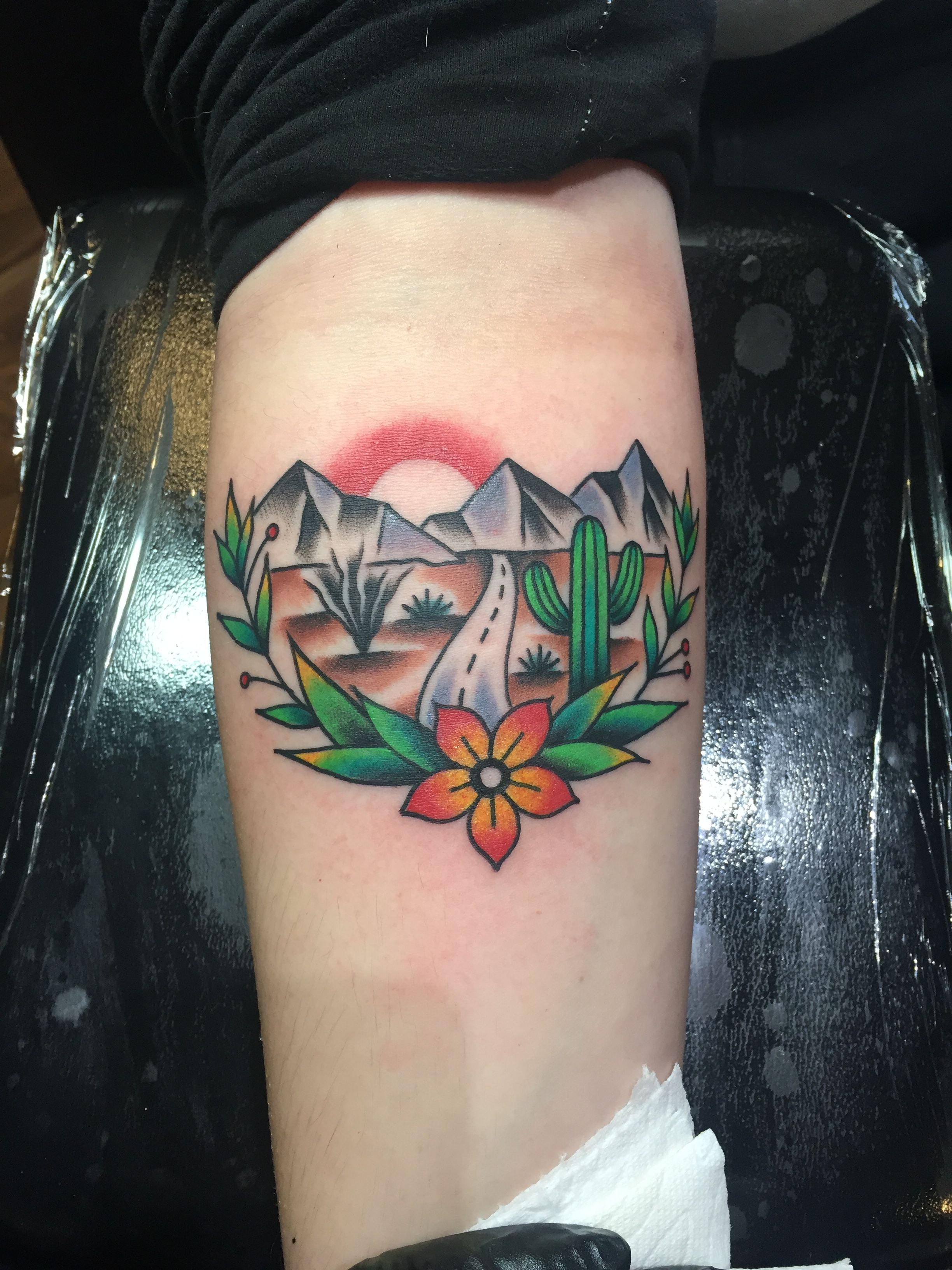 Cactus/ Arizona themed tattoo done by Old Timey Ridge in Tucson ...