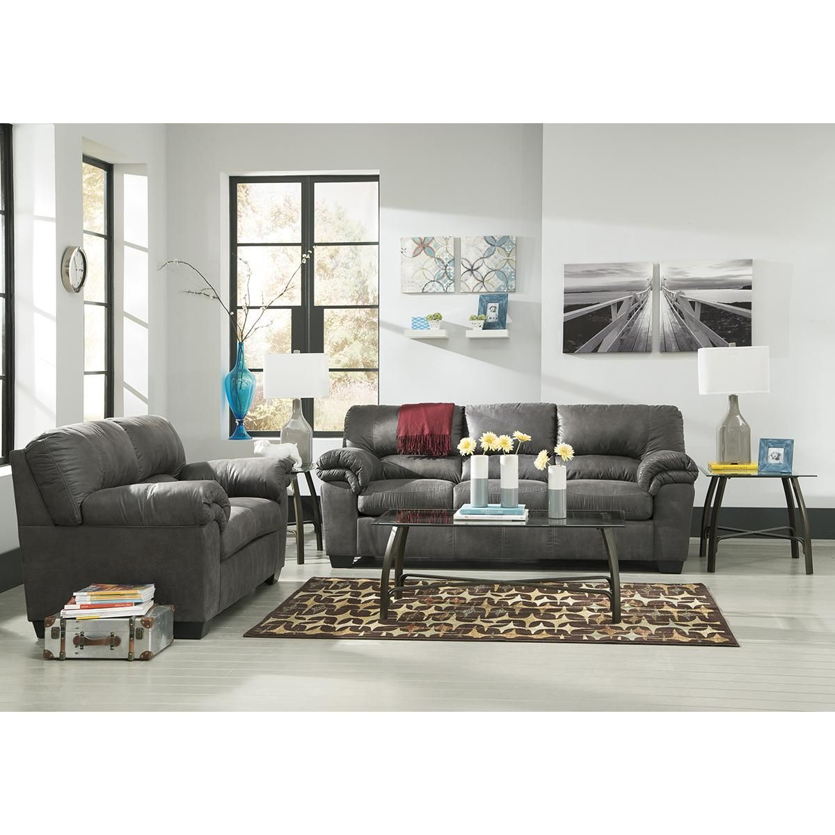 Chenault Brantley Collection Grey Sofa Loveseat Set Sofa And