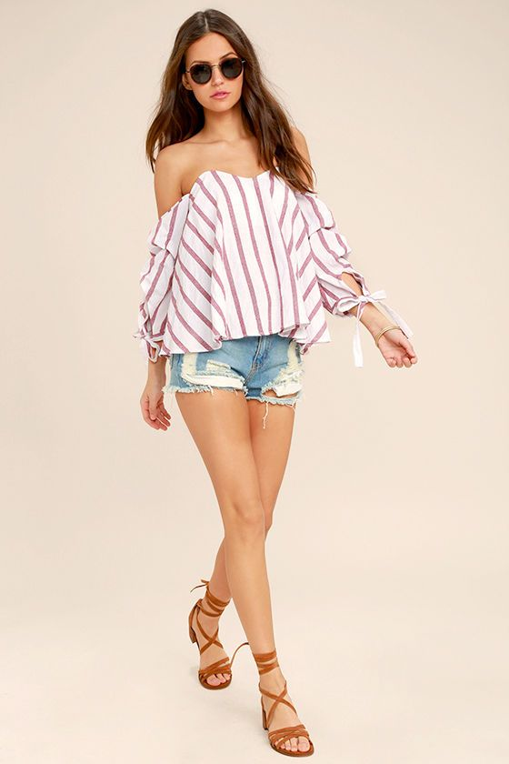 40a7eae7a9554 Stroll down the boardwalk in style in the Someone Special Red and White  Striped Off-the-Shoulder Top! Breezy, red and white striped woven fabric  shapes an ...