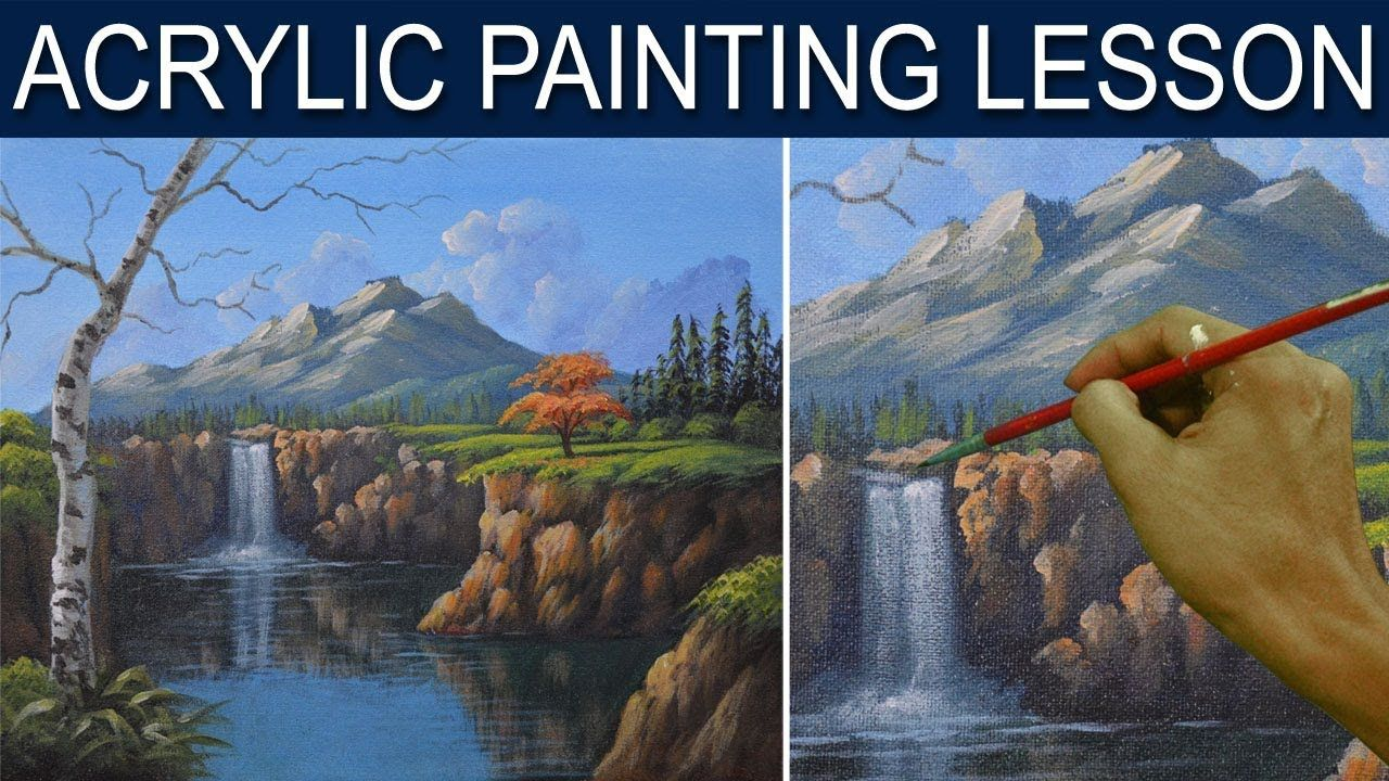 Acrylic Landscape Painting Tutorial The Waterfall In The Cliff Step By Step Real Time By Jm L Landscape Painting Tutorial Landscape Paintings Painting Tutorial
