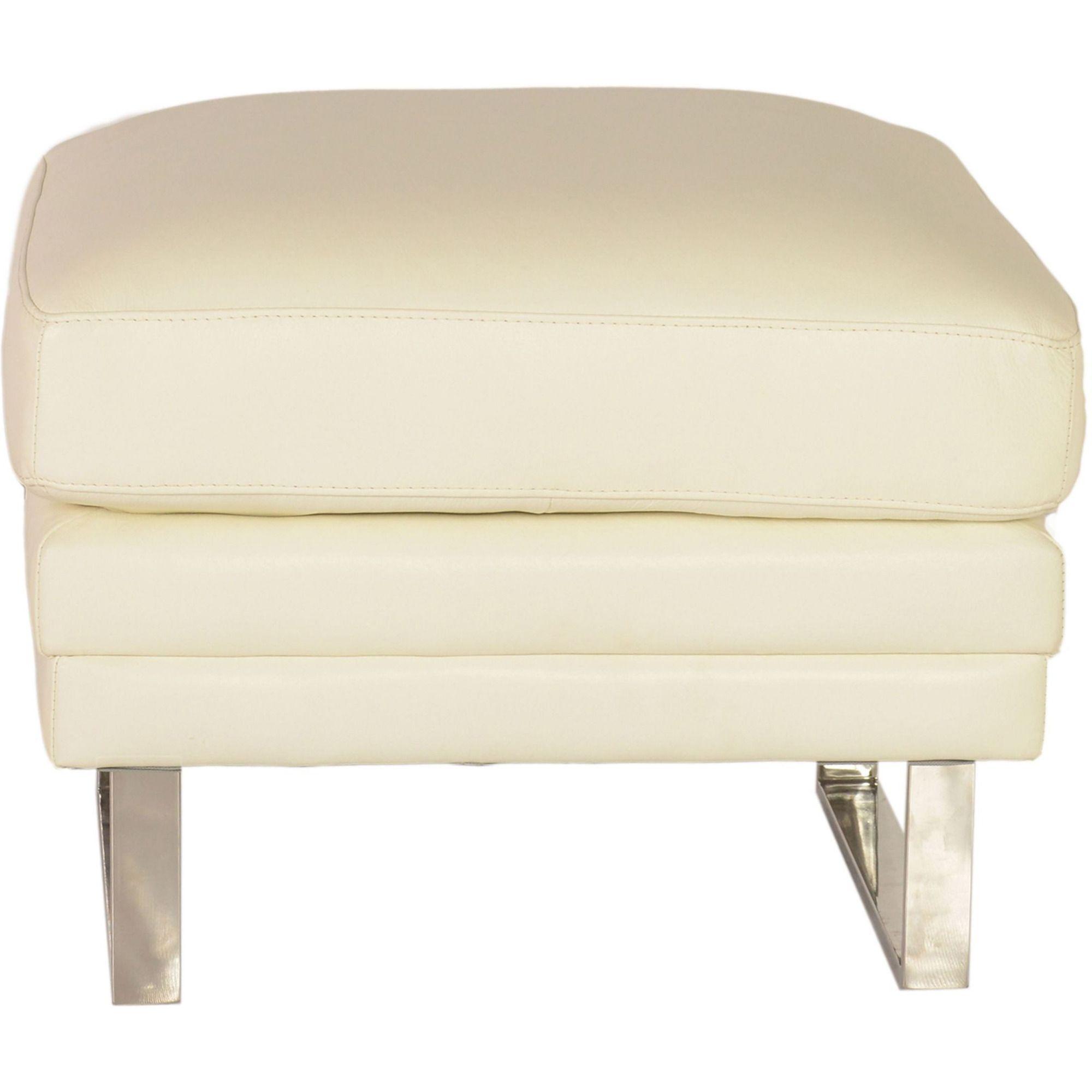 Melbourne Ottoman in White | Lazzaro Leather Furniture ...