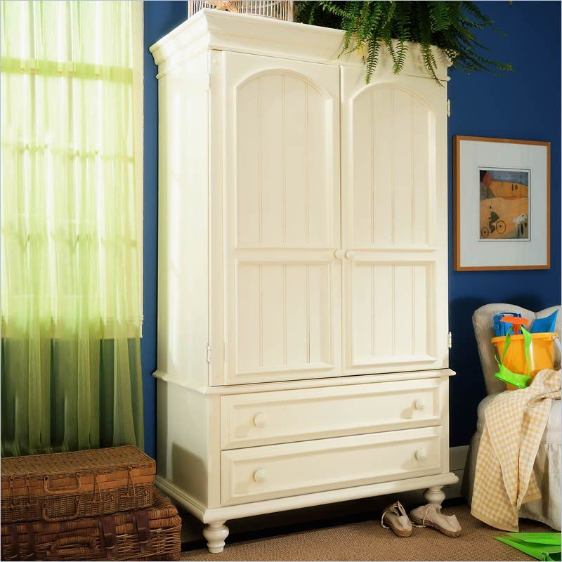 Lea Carolina Retreat Distressed White TV/Wardrobe Armoire