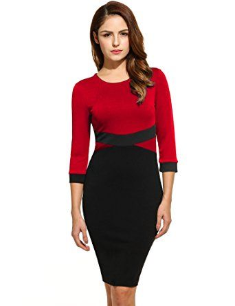 ANGVNS Damen Packet Hüfte Kleid Rundhals Business Kleid Knielang ...