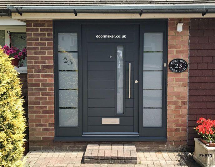 Contemporary Grey Door Etched Glass Contemporary Front Doors