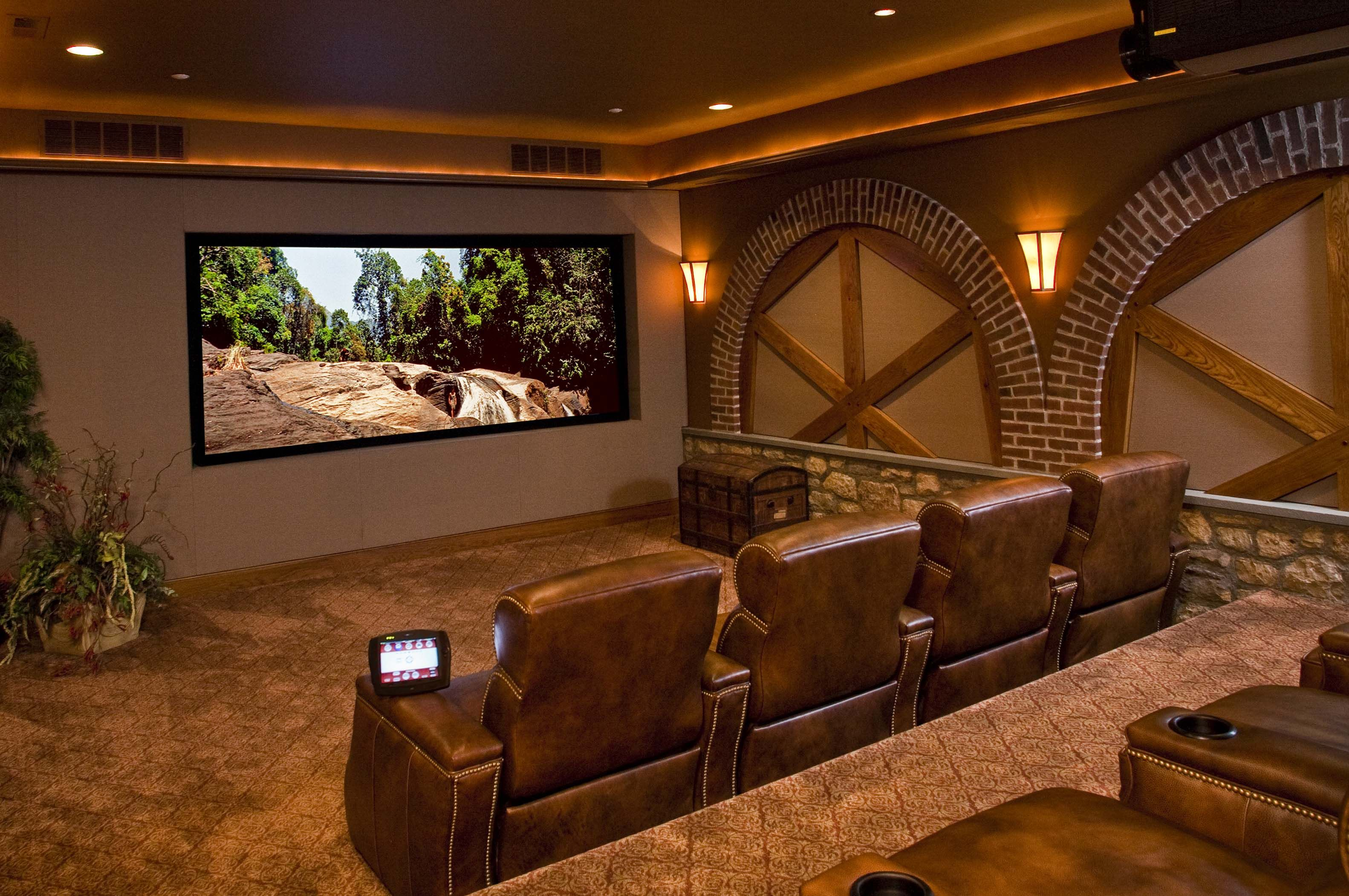 No looking at the theatre but the walls. | Using traditional home ...