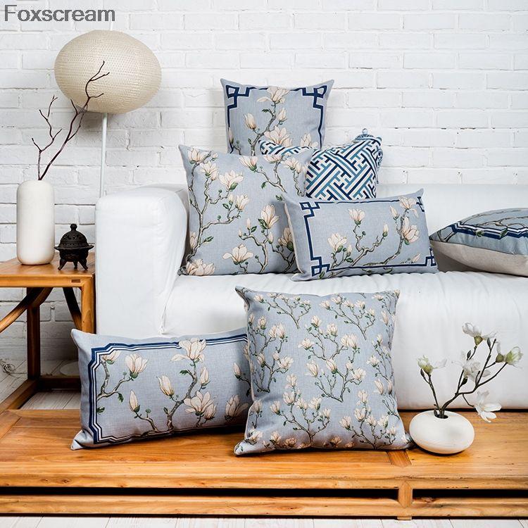 Chinese decorative pillows Flower Cushion Blue throw pillows
