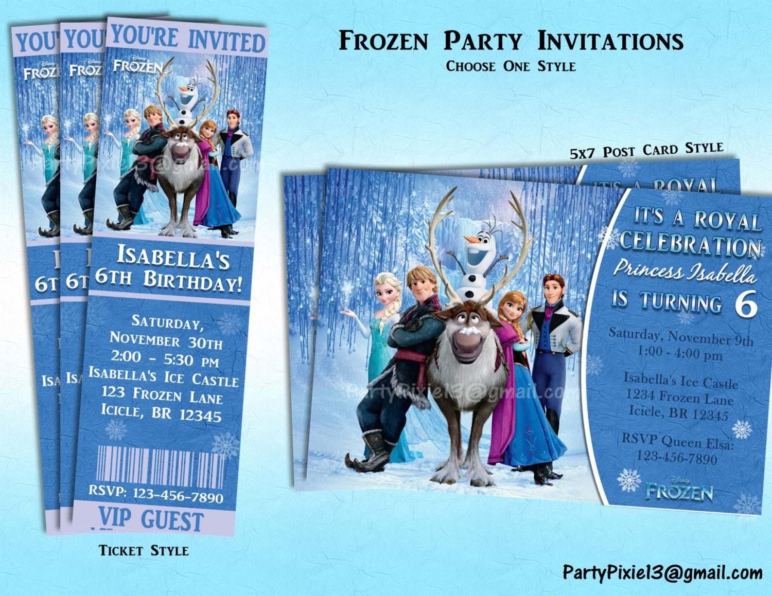 Disney Frozen Party Invitations Ticket or by PartyPixiePrintables ...
