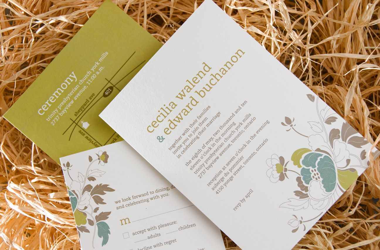 oh so pretty peony! eco-chic wedding invitation