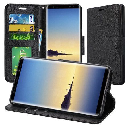 Insten Stand Book-Style Leather [Card Holder Slot] Wallet Pouch Case Cover For Samsung Galaxy Note 8, Black - Walmart.com