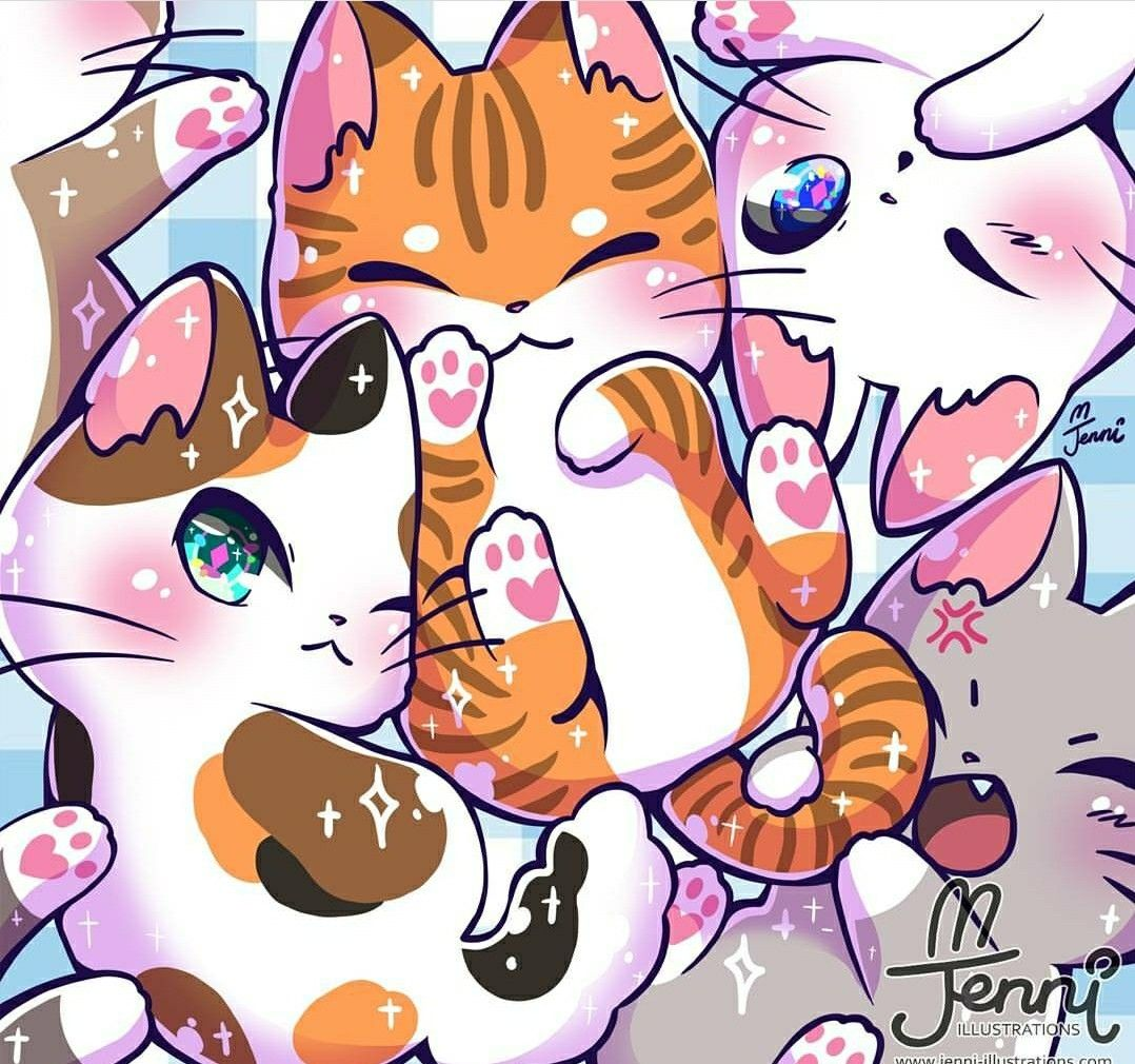 Pin By Trublue Kittie On I Cats Cute Animal Drawings Kawaii Kawaii Cat Drawing Cute Kawaii Animals
