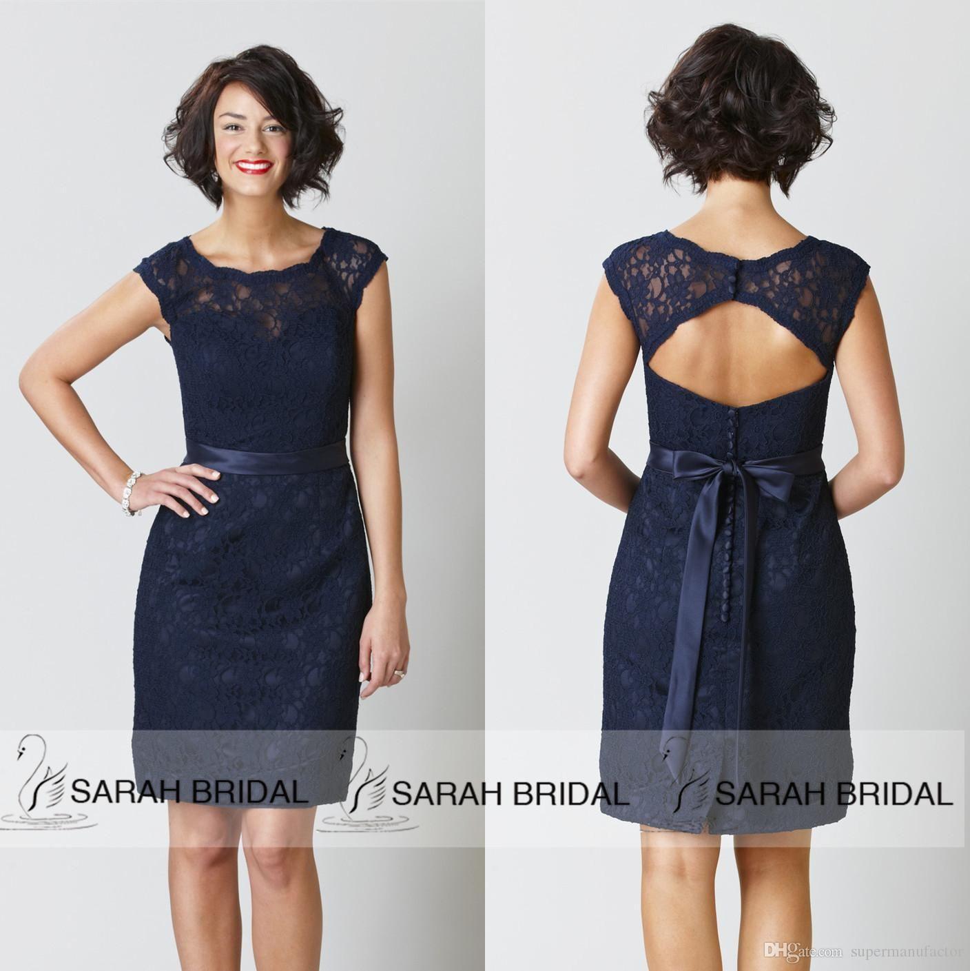 Cheap 2015 Navy Blue Bridesmaid Dresses Scoop Cap Sleeve Knee ...
