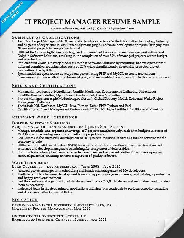 Project Manager Resume Sample  Resume    Project