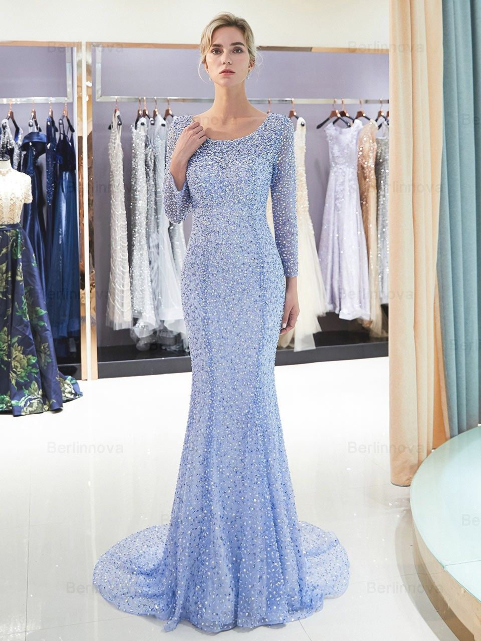 lang mermaid beateu blau strasssteinen abendkleid ballkleid